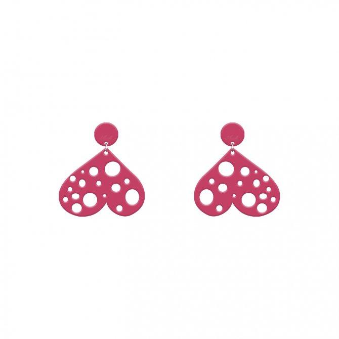 Pendientes corazón loco rosa fuerte mini a la venta en anabi.online