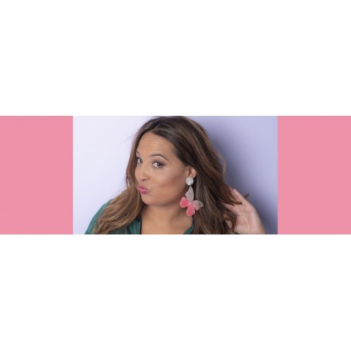 Image pink earrings mariposa in online store anabi.online