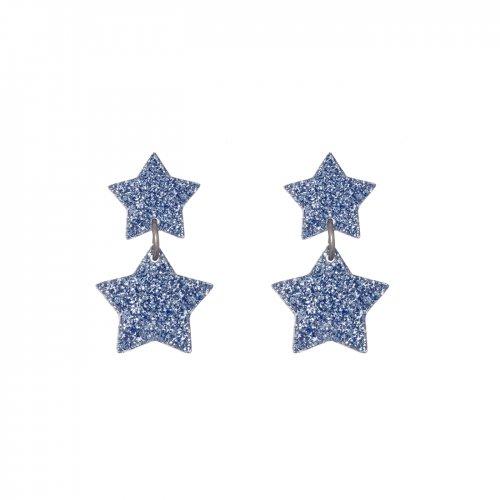Pendientes cascada de estrellas glitter azul mini a la venta en anabi.online