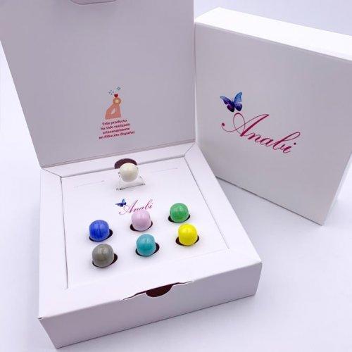 caja PACK a ANILLO INTERCAMBIABLE 6 BOLAS cristal MURANO - a la venta en anabi.online
