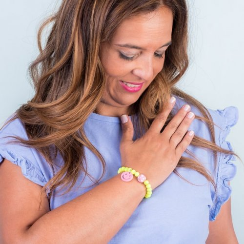 Detail Fluorescent yellow smile bracelet  in online store anabi.online