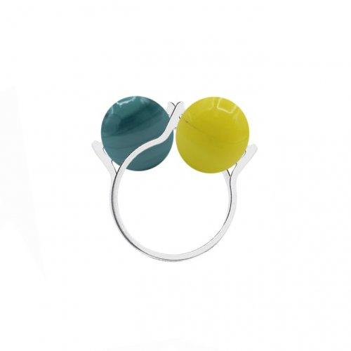 2 anillos bolas de Murano