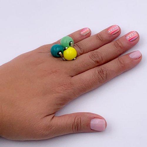 Detalle 3 anillos bolas Murano a la venta en anabi.online